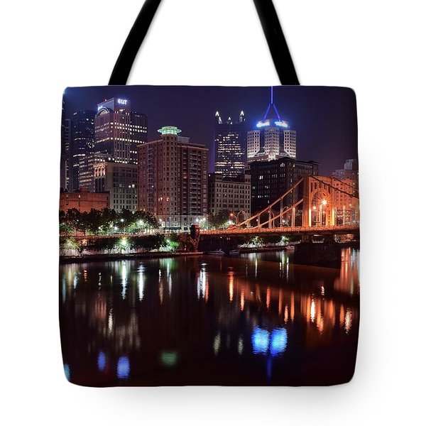 A Pittsburgh Night Tote Bag by Frozen in Time Fine Art Photography