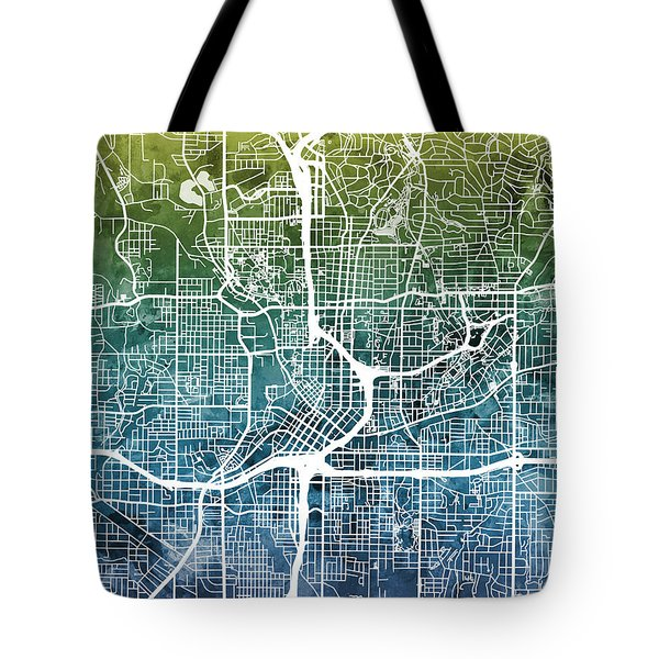 Atlanta Georgia City Map Tote Bag by Michael Tompsett