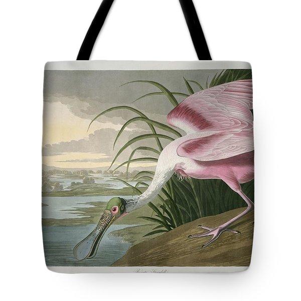 Roseate Spoonbill Tote Bag by John James Audubon