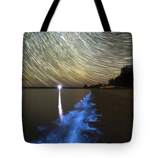 Star Trails And Bioluminescence Tote Bag by Philip Hart