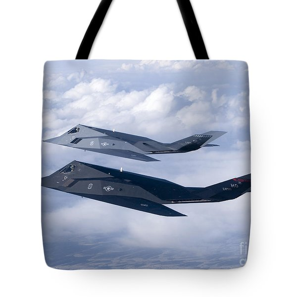 Two F-117 Nighthawk Stealth Fighters Tote Bag by HIGH-G Productions