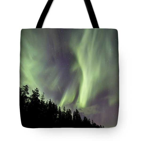 Aurora Borealis Over Trees, Yukon Tote Bag by Jonathan Tucker