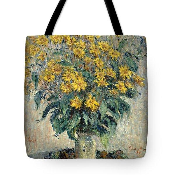 Jerusalem Artichoke Flowers Tote Bag by Claude Monet