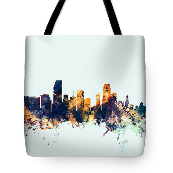 Miami Florida Skyline Tote Bag by Michael Tompsett