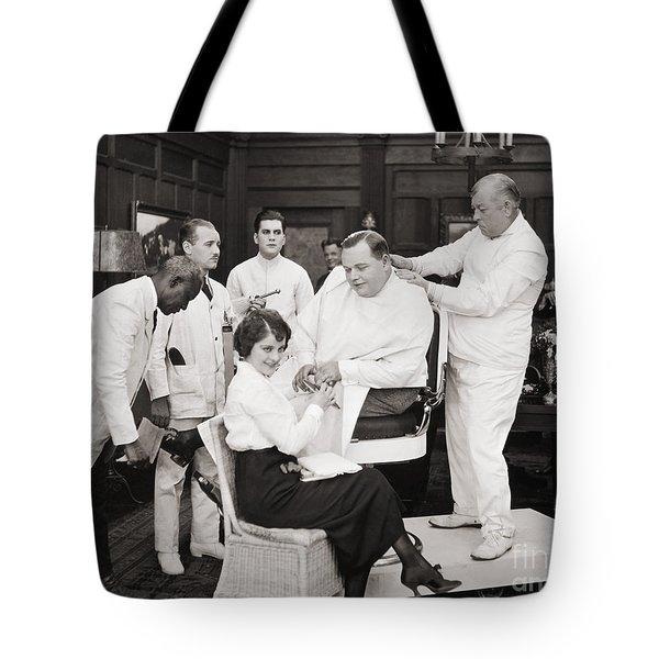 Silent Still: Barber Shop Tote Bag by Granger