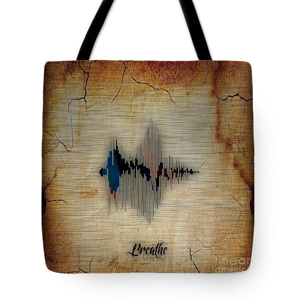 Breathe Spoken Soundwave Tote Bag by Marvin Blaine