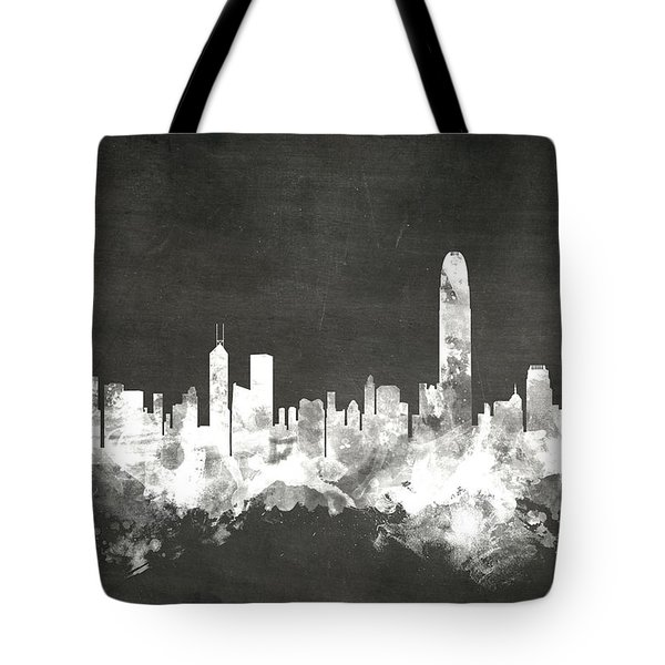 Hong Kong Skyline Tote Bag by Michael Tompsett