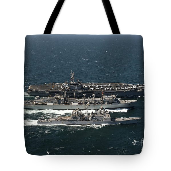Underway Replenishment At Sea With U.s Tote Bag by Stocktrek Images