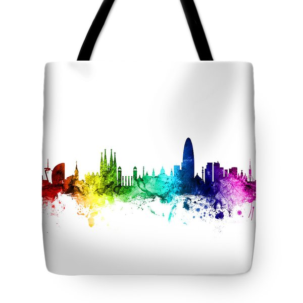 Barcelona Spain Skyline Tote Bag by Michael Tompsett