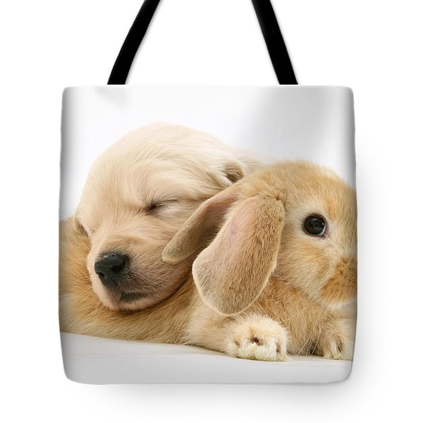 Rabbit And Puppy Tote Bag by Jane Burton