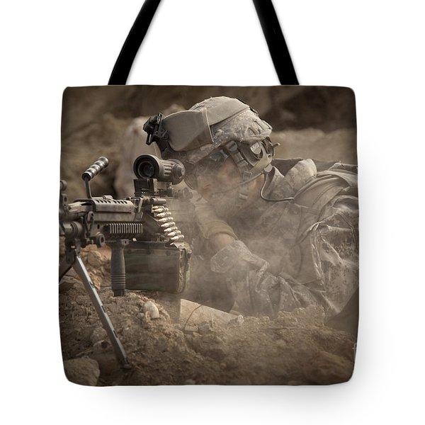 U.s. Army Ranger In Afghanistan Combat Tote Bag by Tom Weber