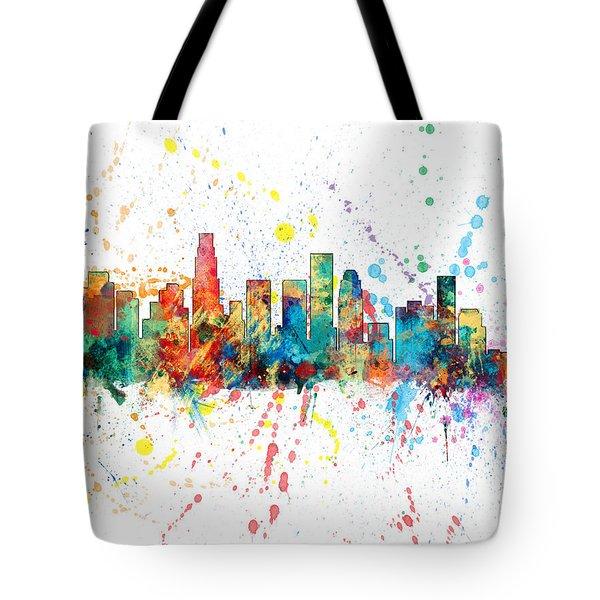 Los Angeles California Skyline Tote Bag by Michael Tompsett