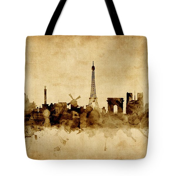 Paris France Skyline Tote Bag by Michael Tompsett