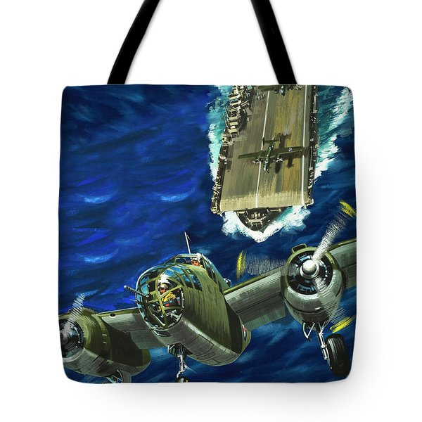 A B52 Bomber Takes Off From An Aircraft Carrier Headed For Japan In World War II Tote Bag by Wilf Hardy