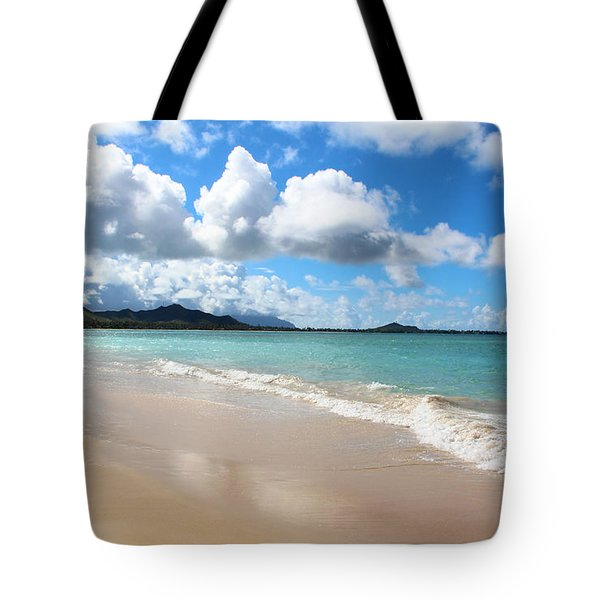 A Beautiful Day At Kailua Beach Hawaii Tote Bag by Kerri Ligatich