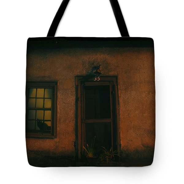 A Black Cat's Night Tote Bag by David Lee Thompson