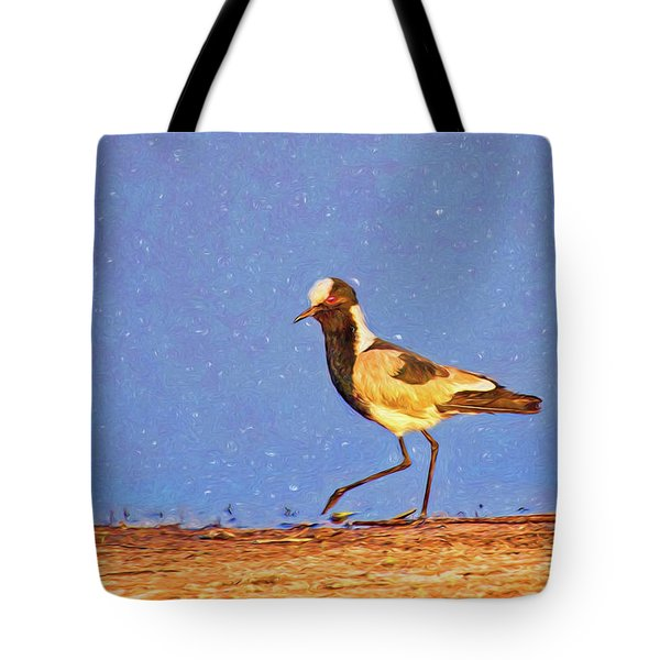 A Black-wing Lapwing With Art Tote Bag by Kay Brewer
