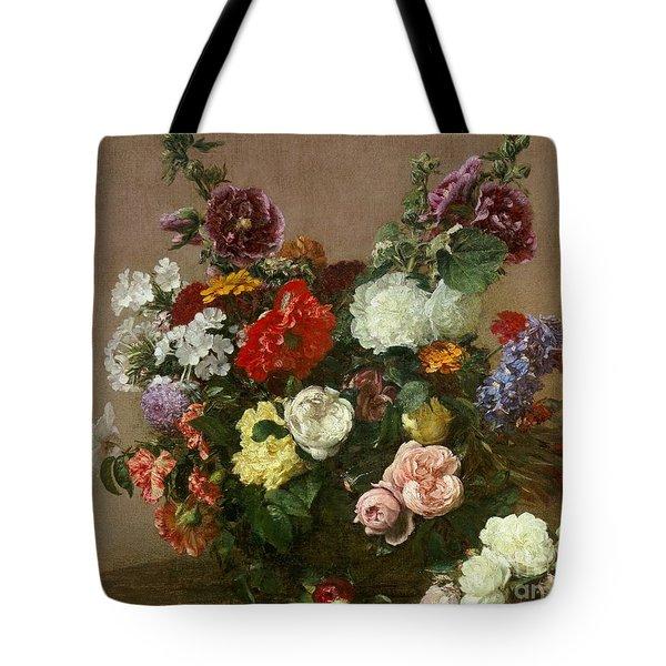A Bouquet Of Mixed Flowers Tote Bag by Ignace Henri Jean Fantin-Latour