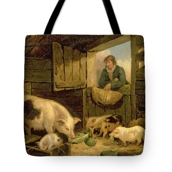 A Boy Looking Into A Pig Sty Tote Bag by George Morland