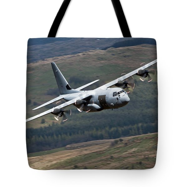 A C-130 Hercules Of The Royal Air Force Tote Bag by Andrew Chittock