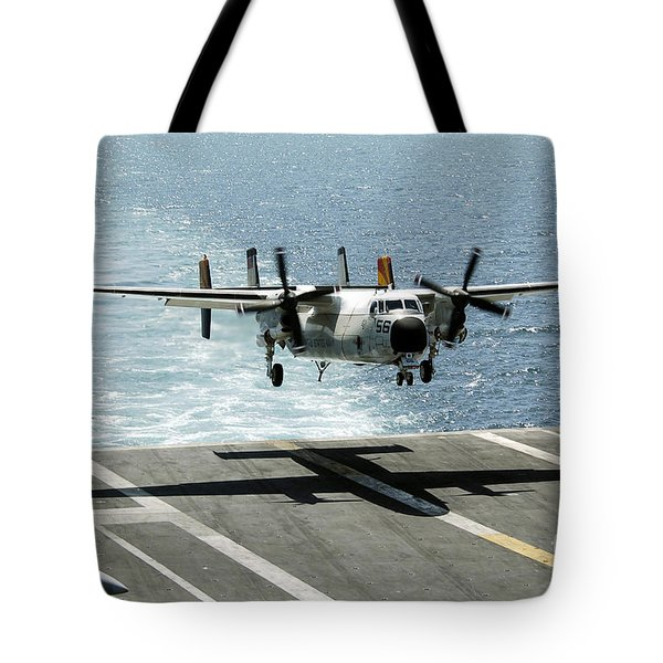 A C-2a Greyhound Prepares To Land Tote Bag by Stocktrek Images