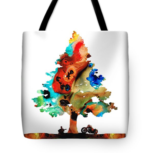 A Certain Kind Of Freedom - Guitar Motorcycle Art Print Tote Bag by Sharon Cummings