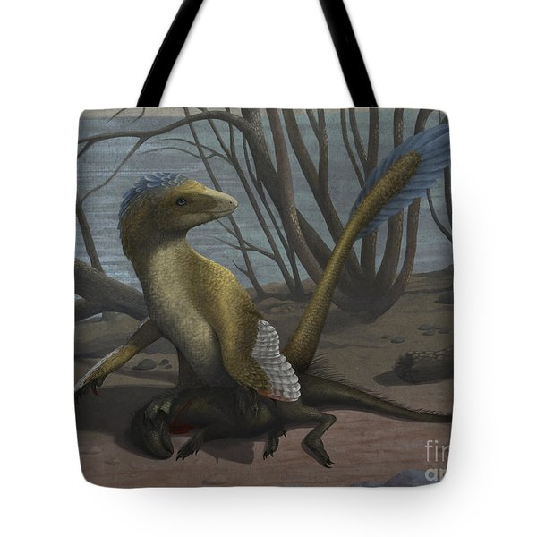 A Deinonychus Protects Its Kill Tote Bag by Emily Willoughby