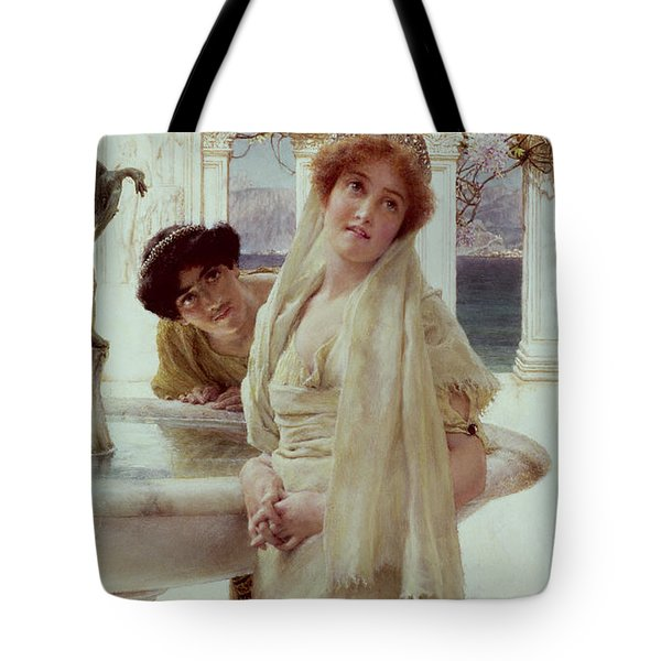 A Difference Of Opinion Tote Bag by Sir Lawrence Alma-Tadema