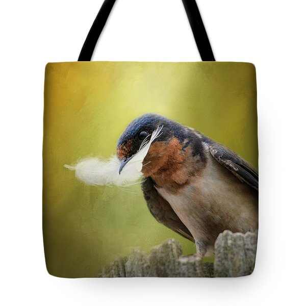 A Feather For Her Nest Tote Bag by Jai Johnson