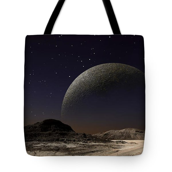 A Futuristic Space Scene Inspired Tote Bag by Frank Hettick