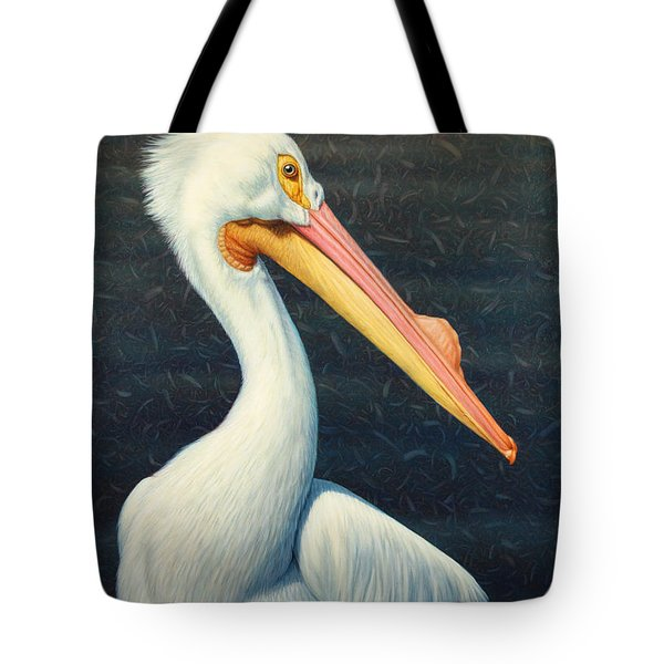 A Great White American Pelican Tote Bag by James W Johnson