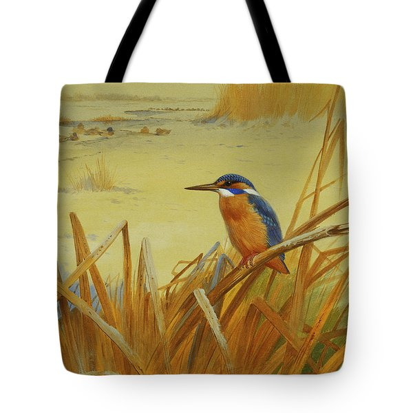 A Kingfisher Amongst Reeds In Winter Tote Bag by Archibald Thorburn