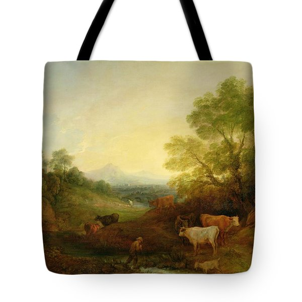 A Landscape With Cattle And Figures By A Stream And A Distant Bridge Tote Bag by Thomas Gainsborough