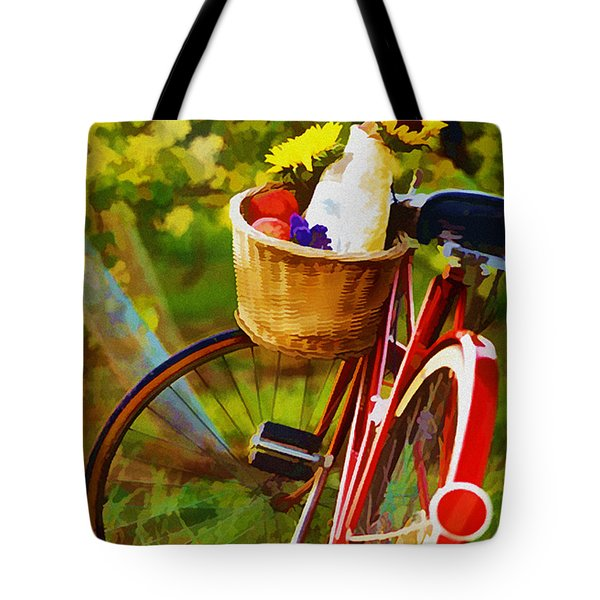 A Loaf of Bread a Jug of Wine and a Bike Tote Bag by Elaine Plesser