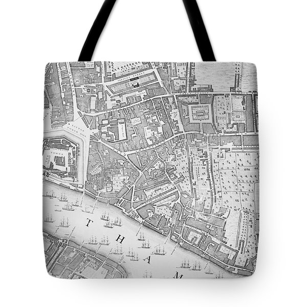 A Map Of The Tower Of London Tote Bag by John Rocque