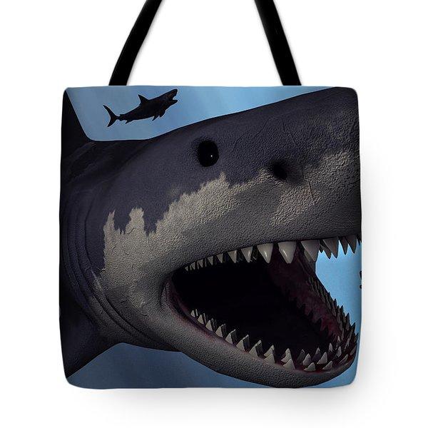 A Megalodon Shark From The Cenozoic Era Tote Bag by Mark Stevenson