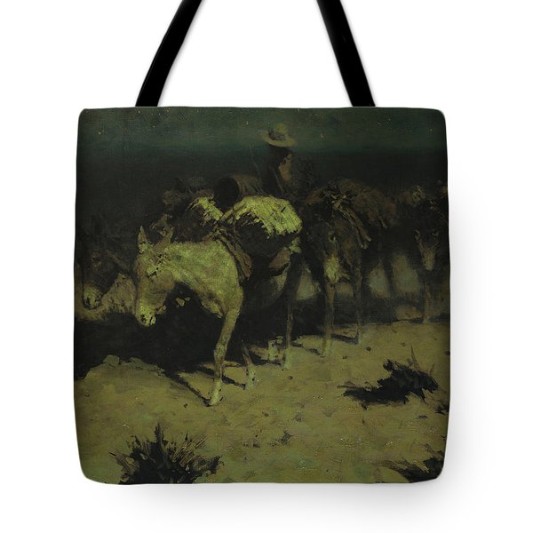A Pack Train Tote Bag by Frederic Remington