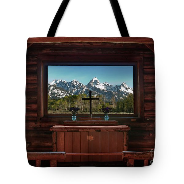 A Pew With A View Tote Bag by Sandra Bronstein
