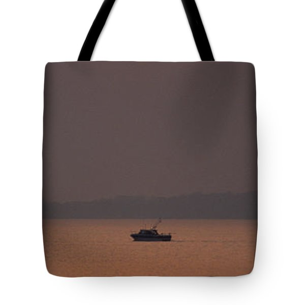 A Power Boat On Its Way To The Fishing Grounds Tote Bag by John Harmon