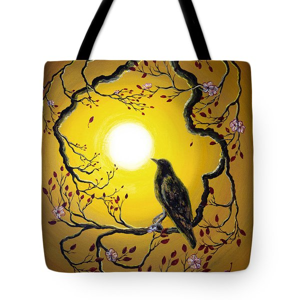 A Raven Remembers Spring Tote Bag by Laura Iverson