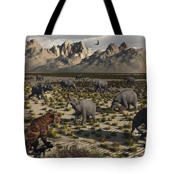 A Sabre-toothed Tiger Stalks A Herd Tote Bag by Mark Stevenson