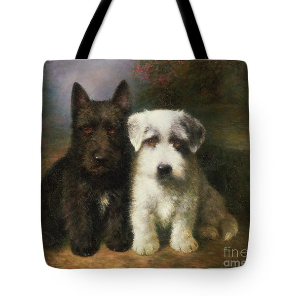A Scottish And A Sealyham Terrier Tote Bag by Lilian Cheviot