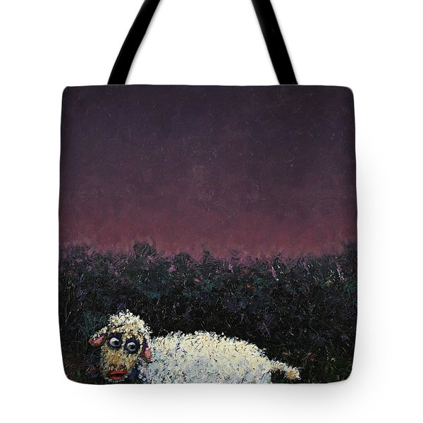 A sheep in the dark Tote Bag by James W Johnson