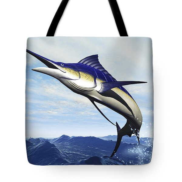 A Sleek Blue Marlin Bursts Tote Bag by Corey Ford