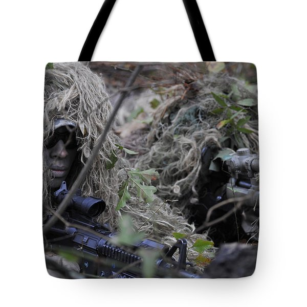 A Sniper Team Spotter And Shooter Tote Bag by Stocktrek Images