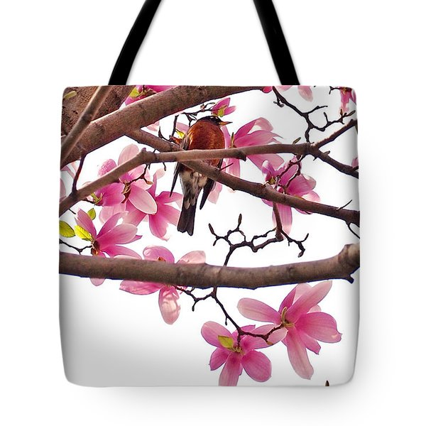 A Songbird In The Magnolia Tree - Square Tote Bag by Rona Black