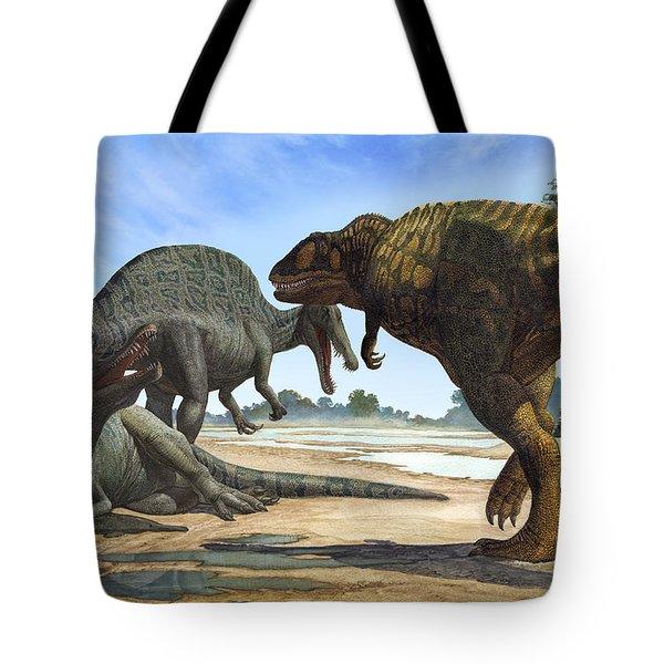 A Spinosaurus Blocks The Path Tote Bag by Sergey Krasovskiy