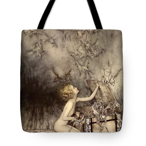 A Sudden Swarm Of Winged Creatures Brushed Past Her Tote Bag by Arthur Rackham
