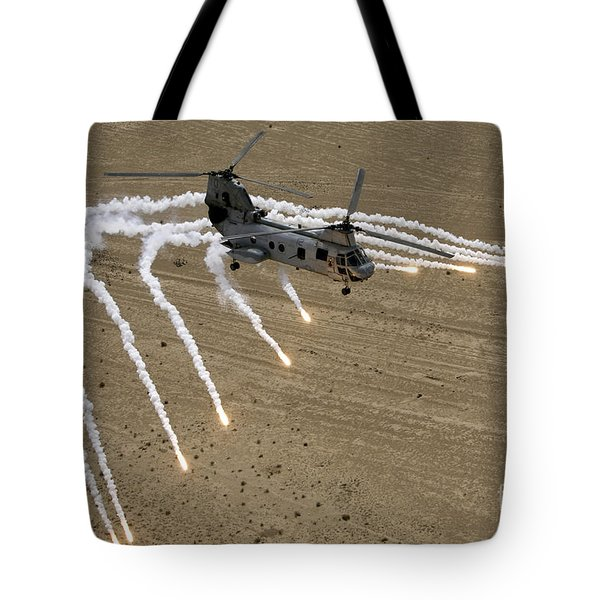 A U.s. Marine Corps Ch-46 Sea Knight Tote Bag by Stocktrek Images