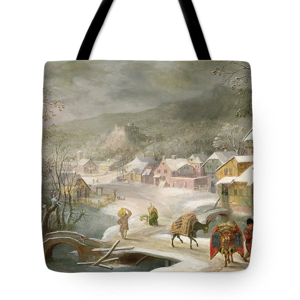 A Winter Landscape With Travellers On A Path Tote Bag by Denys van Alsloot
